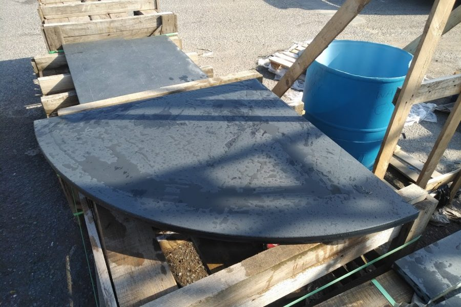 Curved corner slate hearth before installation