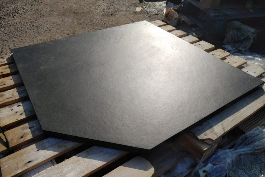 Custom five sided pentagonal slate hearth