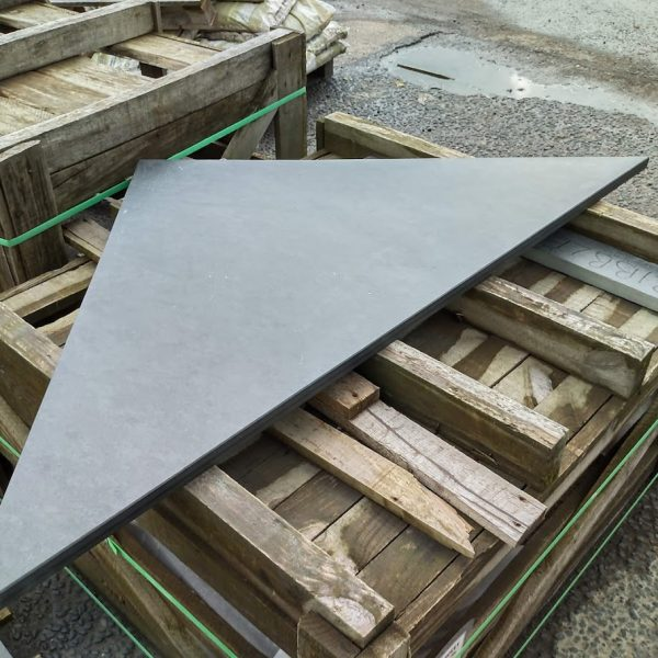 Custom made triangular slate hearth piece