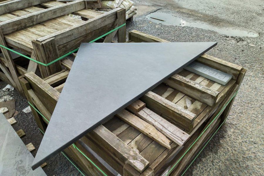 Custom made triangular slate hearth piece