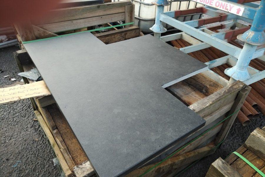 Cutting a T-shape slate hearth to exact measurements