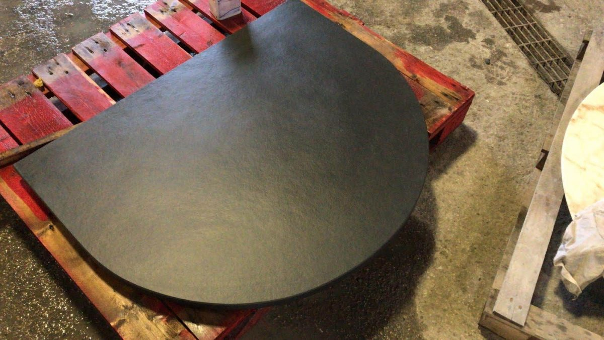 D shaped custom made slate hearth piece