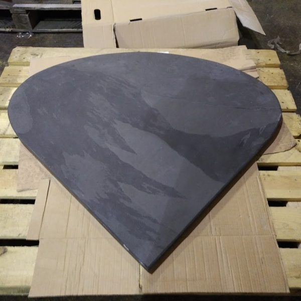 Long teardrop shaped slate hearth ready for delivery