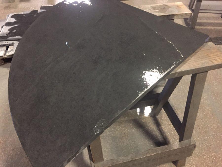 Preparing a curved semicurcular slate hearth