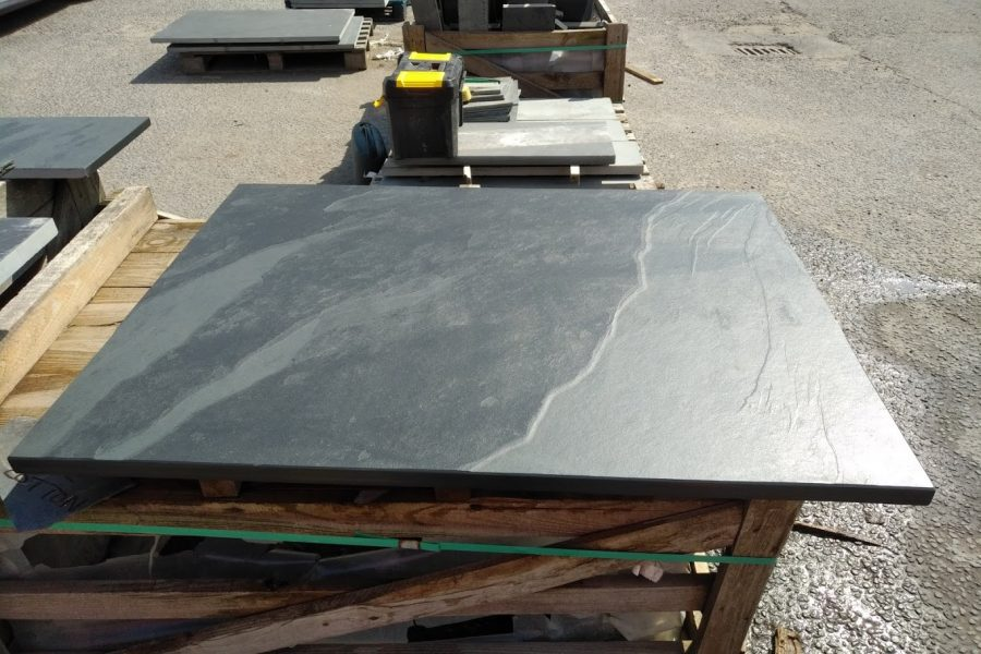 Square slate hearth ready to meet its new home