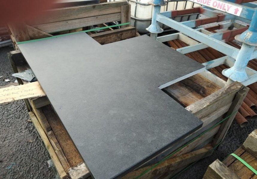 Cutting a T-shape slate hearth to exact measurements