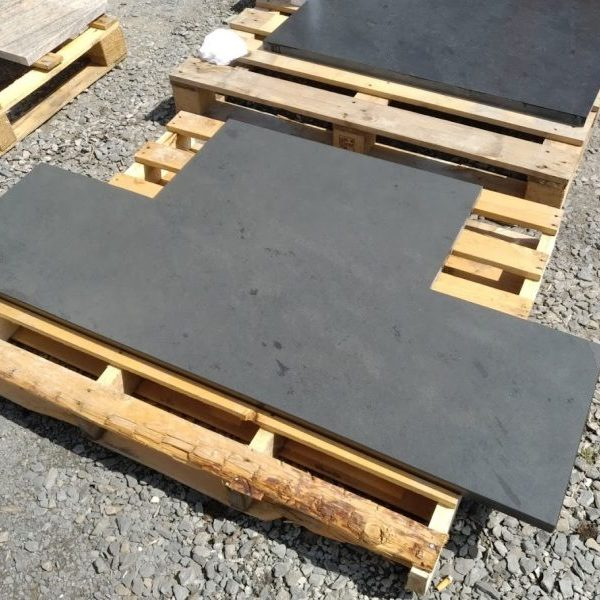 Right-angles galore - a made-to-measure T-shaped slate hearth ready to install